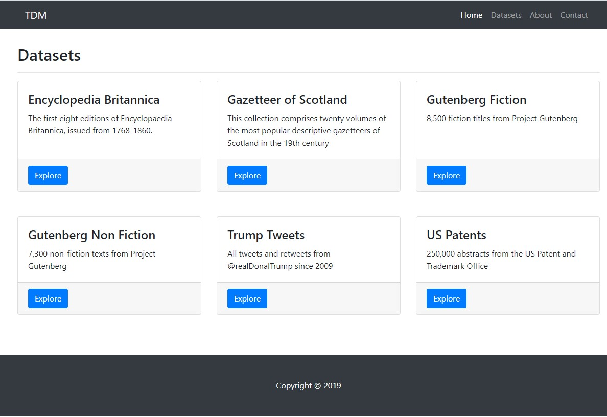 Prototype interface for the Text and Data Mining platform